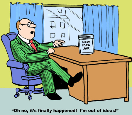 finally: Cartoon of businessman with a new idea jar, it has finally happened, he is out of ideas. Stock Photo