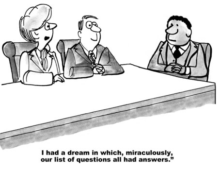 gag: Cartoon of businesswoman who had a dream where all their questions were answered.