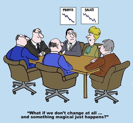 Cartoon de réunion d'affaires et des diagrammes montrant la baisse des ventes, femme d'affaires dit si nous ne changeons pas du tout Banque d'images - 36332436