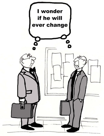 ongoing: Cartoon of two businessmen both thinking the same thing about the other, that he changes. Stock Photo