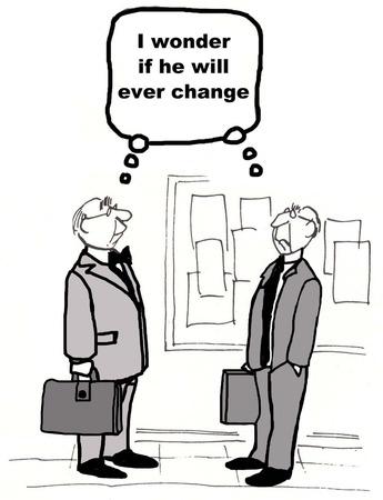 Cartoon van twee zakenlieden zowel denken hetzelfde over de andere, dat hij verandert. Stockfoto