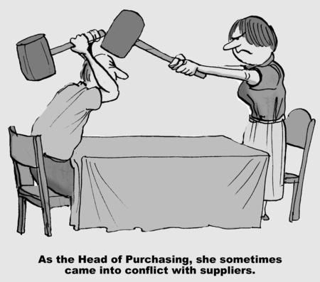 suppliers: Cartoon of businesswoman and businessman in conflict, as head of purchasing she sometimes came into conflict with the suppliers.