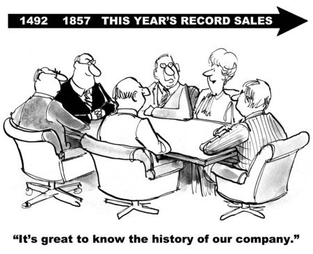 teamwork cartoon: Cartoon of business meeting and businesswoman realizing this year was a record sales year.