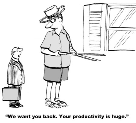 giant man: Cartoon of midget businessman standing by giant man, we want you back your productivity is huge. Stock Photo