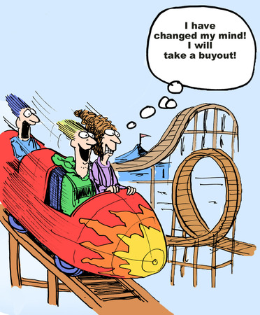 Cartoon of businesswoman having fun on roller coaster, she has decided she will take a retirement buyout package.