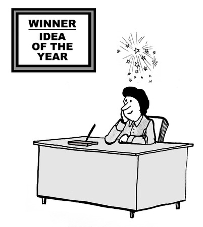 Cartoon of businesswoman with lots of ideas above her head, she is the Idea of the Year winner.