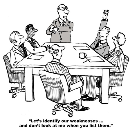 Cartoon of businessman leading a SWOT analysis, do not look at him when you identify weaknesses.