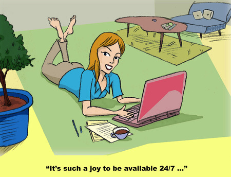 too much: Cartoon of businesswoman working at home in the evening, thinking what a joy it is to be available 247. Stock Photo