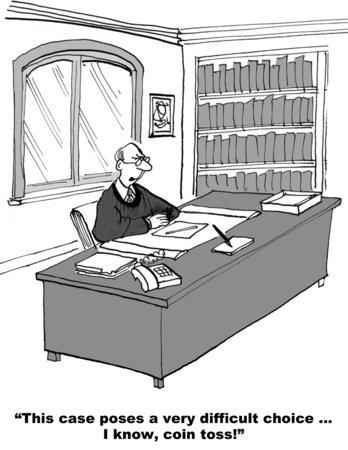 Cartoon of a judge with a difficult choice to make in the lawsuit, he decides by coin toss. Stock Photo