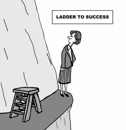 Cartoon of businesswoman looking up the side of a mountain, she is climbing the ladder to success.