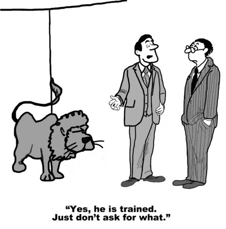gag: Cartoon of two businessmen with lion, lion is trained but do not ask for what. Stock Photo