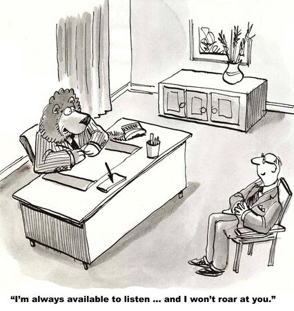 Cartoon of lion team leader saying to new hire he is always available to listen and will not roar.