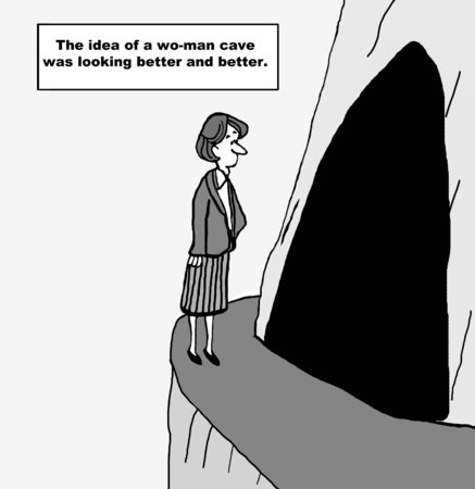 Cartoon of businesswoman looking into a cave, the idea of a woman cave was looking better and better. 版權商用圖片