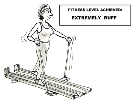 super cross: Cartoon of super fit woman working out on cross country ski machine.