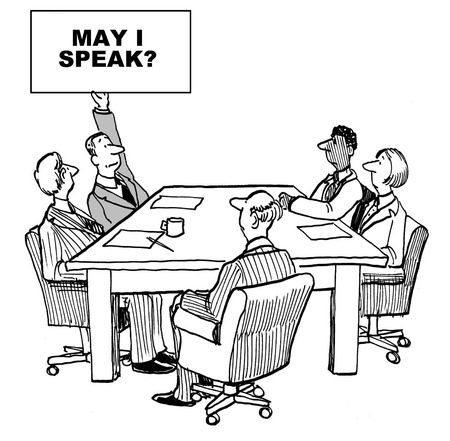 introverted: Cartoon of business meeting, one businessman has raised sign saying may I speak.