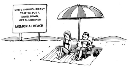 Cartoon of business couple enjoying a weekend at Memorial Beach. 版權商用圖片