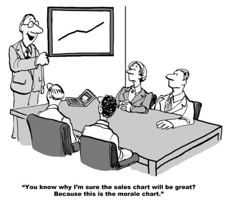 Cartoon of businessman saying sales will be great because company morale is going up.