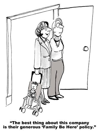Cartoon of two businesswomen who are mothers, one has infant in stroller, they appreciate the companys daycare policy.