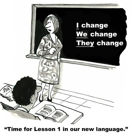 Cartoon of businesswoman at blackboard teaching the new language of change: I, we, they, all of us Banque d'images