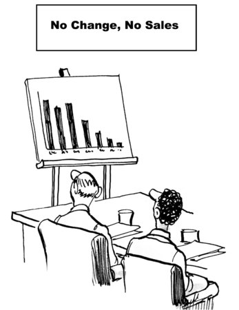 sales meeting: Cartoon of businesspeople looking at chart of declining sales, no change means no sales gain. Stock Photo