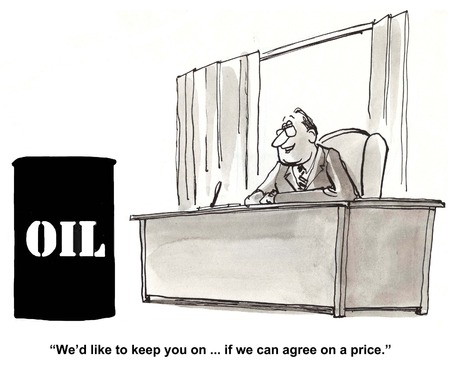 Cartoon of businessman negotiating price with a barrel of oil