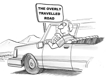 Cartoon of bord businessman on overly travelled road. Banco de Imagens