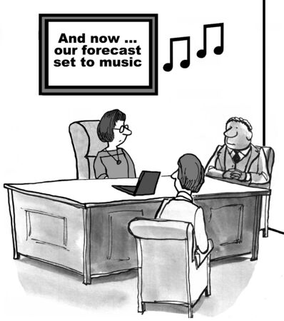 overly: Cartoon of business team listening to volume forecast set to music.