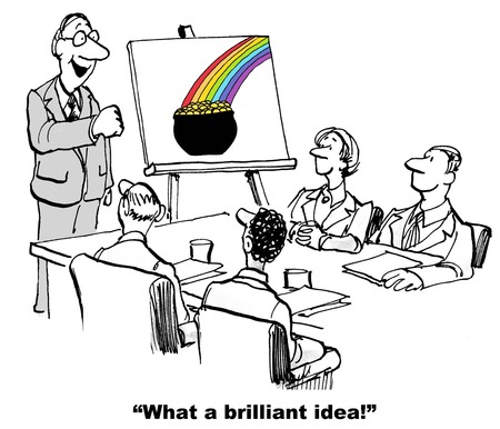 innovator: Cartoon of business leader and chart with rainbow ending in pot of gold to convey what a brilliant idea the team has.
