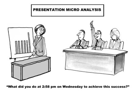 minutiae: Cartoon of businesswoman giving presentation and boss asks what happened at 2:58 Wednesday to achieve this success.