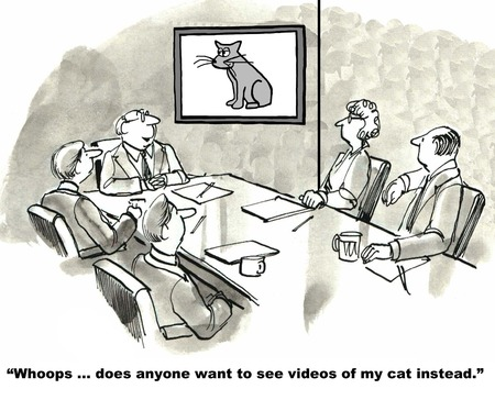 present presentation: Cartoon of businessman trying to show business video, instead it is a video of his cat. Stock Photo