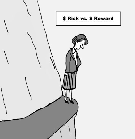 evaluating: Cartoon of businesswoman evaluating the dollar risk versus dollar reward of an opportunity.