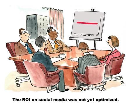 computadora caricatura: Caricatura de equipo de marketing mirando línea roja directa en el gráfico, el retorno de la inversión en las redes sociales todavía no se ha optimizado.