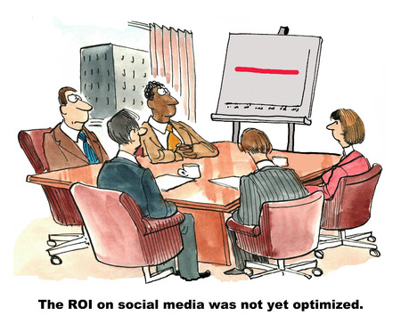 cartoon money: Cartoon of marketing team looking at straight red line on chart, the ROI on social media was not yet optimized.