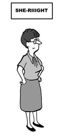 Cartoon van onderneemster sarcastisch zeggen She-Riiight in reactie op roddels. Stockfoto