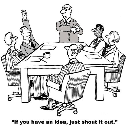 introverted: Cartoon of businessman raising hand in meeting rather than just shouting out his idea. Stock Photo