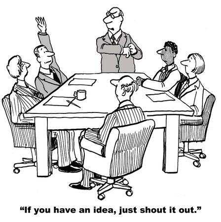 Cartoon van zakenman verhogen van de hand bij het voldoen in plaats van alleen schreeuwen uit zijn idee.