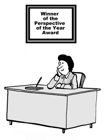 Cartoon of businesswoman at deak with sign: winner of the perspective of the year award. Stock fotó