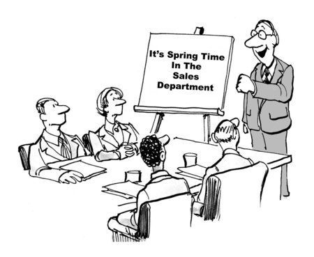 encouragement: Cartoon of business boss encouraging sales people to be energetic about their work. Stock Photo