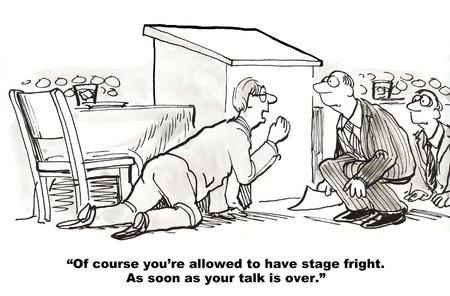 漫画のビジネスマンは、表彰台と観客の後ろにしゃがんで、スピーチの後舞台恐怖症を得ることができます。
