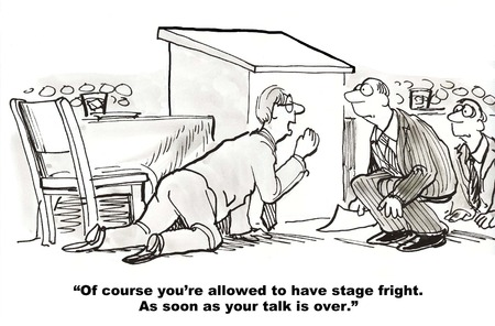 Cartoon of businessman crouching behind podium and audience, you can get stage fright after the speech.