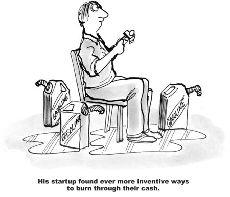 venture: Cartoon of businessman surrounded by gasoine lighting a match, his startup found inventive ways to burn through cash. Stock Photo