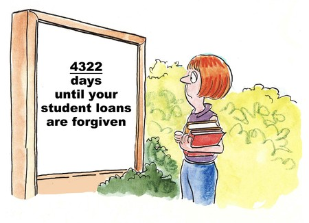 Cartoon of teen college student looking at sign that says:4,322 days until your student loans are forgiven. photo
