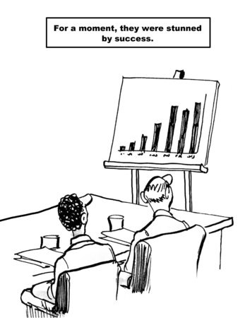 Cartoon of business team looking at chart showing outstanding financial sales success, for a moment they were stunned by success.