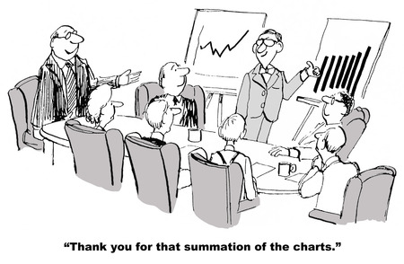 summation: Cartoon of businessman giving thumbs up signal, his summation of the excellent financial results shown on the charts.