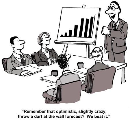 ビジネス リーダーとチームに言っての漫画、楽観的、少しクレイジー投げる壁ダーツ予測、我々 はそれを打つことを覚えています。 写真素材 - 36213542