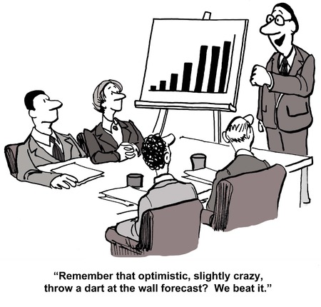 it business: Cartoon of business leader saying to team, remember that optimistic, slightly crazy, throw a dart at the wall forecast, we beat it. Stock Photo