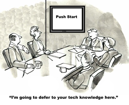 requirement: Cartoon of business leader saying to team I will defer to your tech knowledge, requirement: push start. Stock Photo