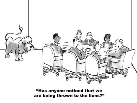 defenseless: Cartoon of business leader saying he feels the team is being thrown to the lions, there is a lion in the room. Stock Photo