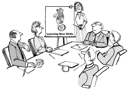 business leader: Cartoon of seminar on learning new skills, business leader is pointing to a bear riding a unicycle.