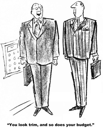 Cartoon of two businessmen, one says you look trim and so does your budget. Stock Photo